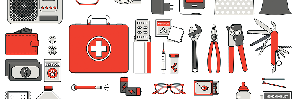 drawing of various tools and emergency kit